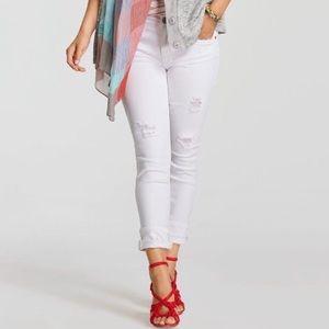 CABI Hola 5305 High Slim Jeans Distressed White